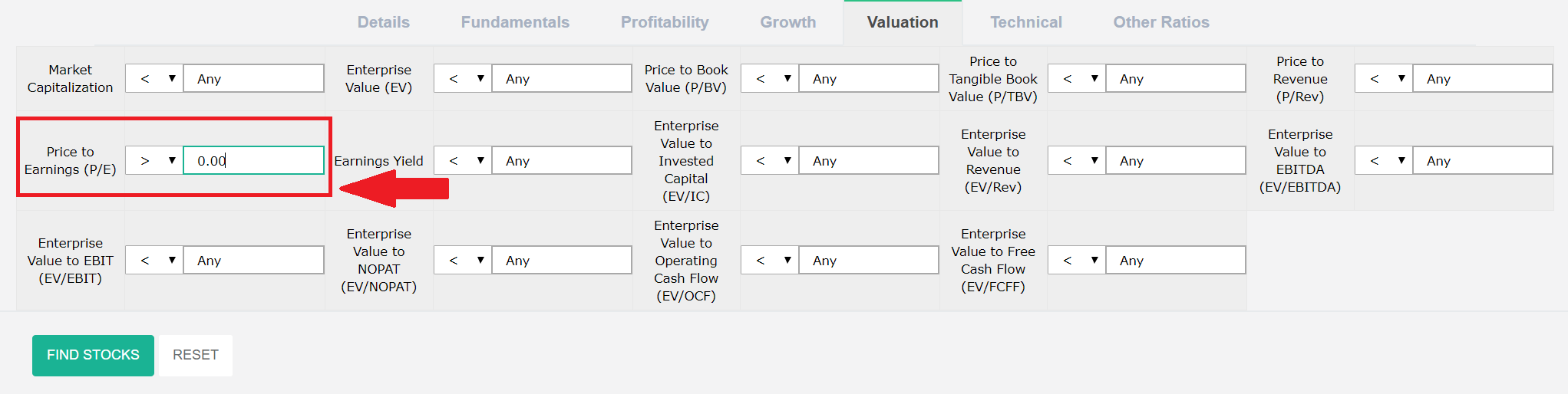 Price to Earnings List Criteria.PNG